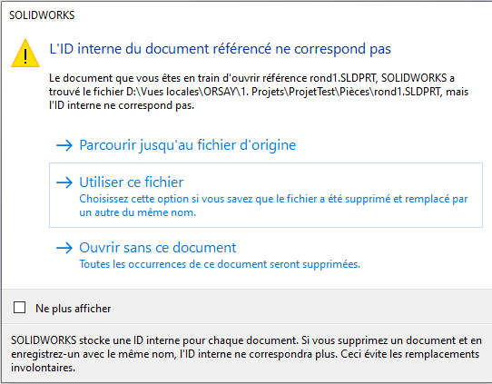 sélectionner l'option «Utiliser ce fichier».