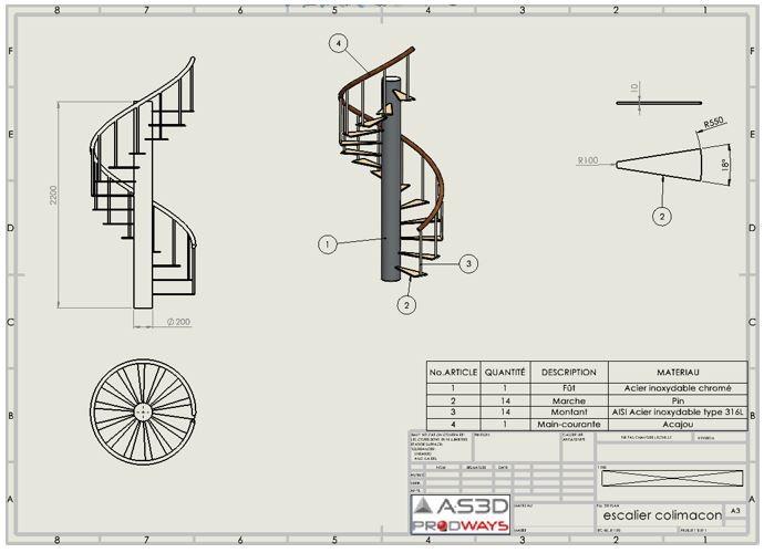 mise en plan escalier colimasson solidworks