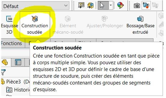 outil construction soudee solidworks