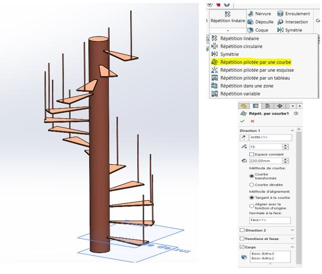 repetition pilotee escalier solidworks