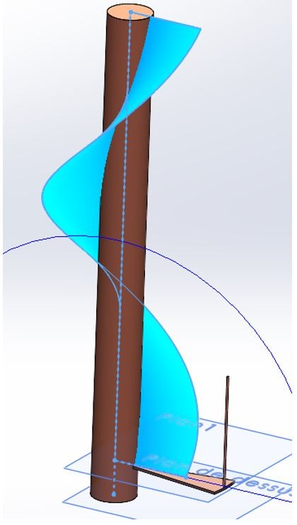 surface balayage escalier solidworks